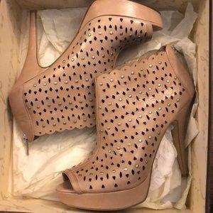 Platform Peep-toe Cutout Leather Heels